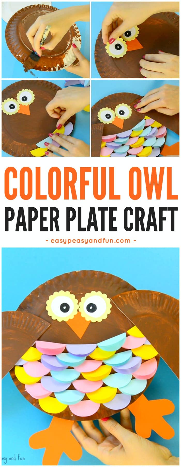 Colorful Paper Plate Owl Craft for Kids. Fun paper plate crafts for kids.