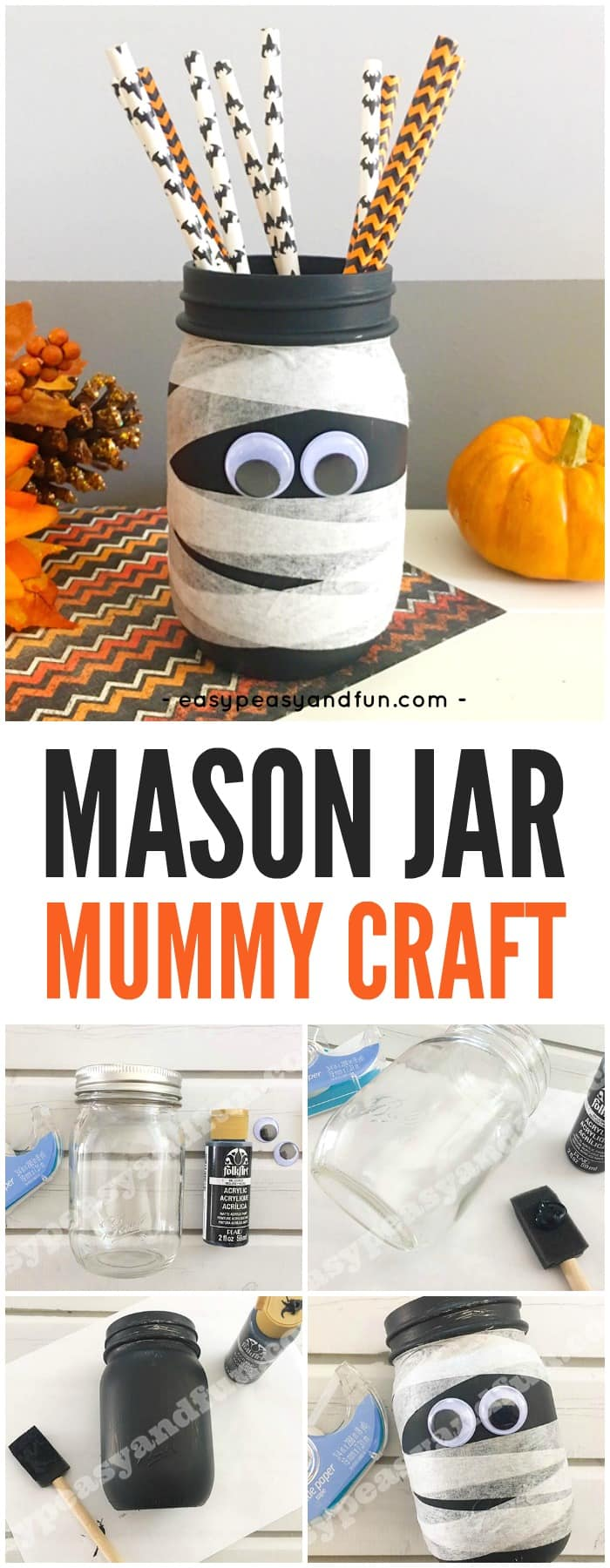 Cute Mason Jar Mummy Halloween Craft for Kids