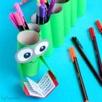 DIY Bookworm Paper Roll Pencil Holder