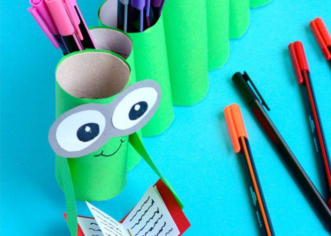 DIY Bookworm Paper Roll Pencil Holder