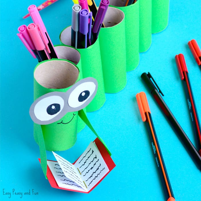 DIY Bookworm Paper Roll Pencil Holder Craft for Kids to Make