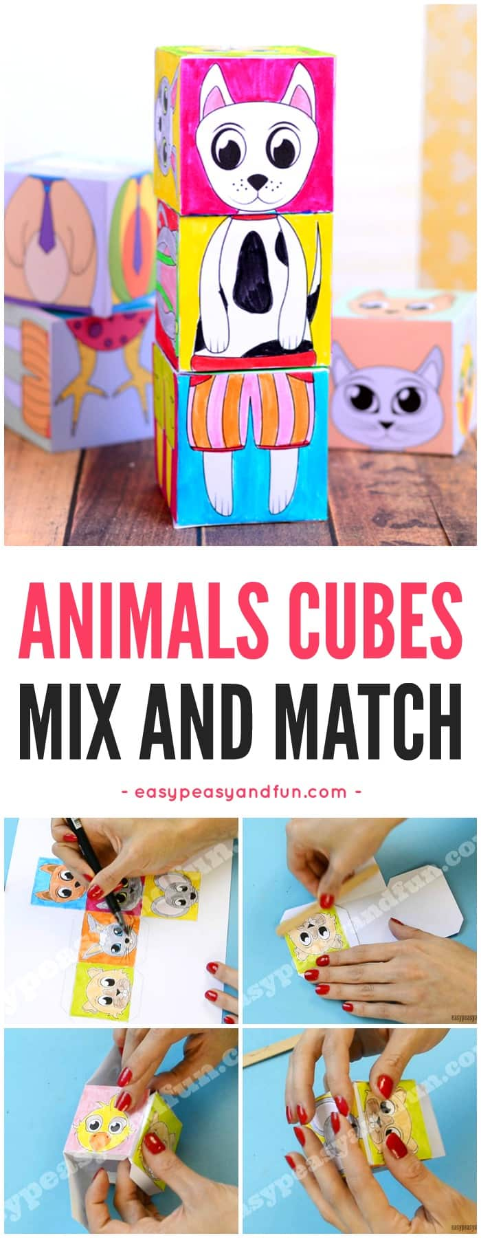 Printable Animals Mix and Match Cubes Paper Toy for Kids.