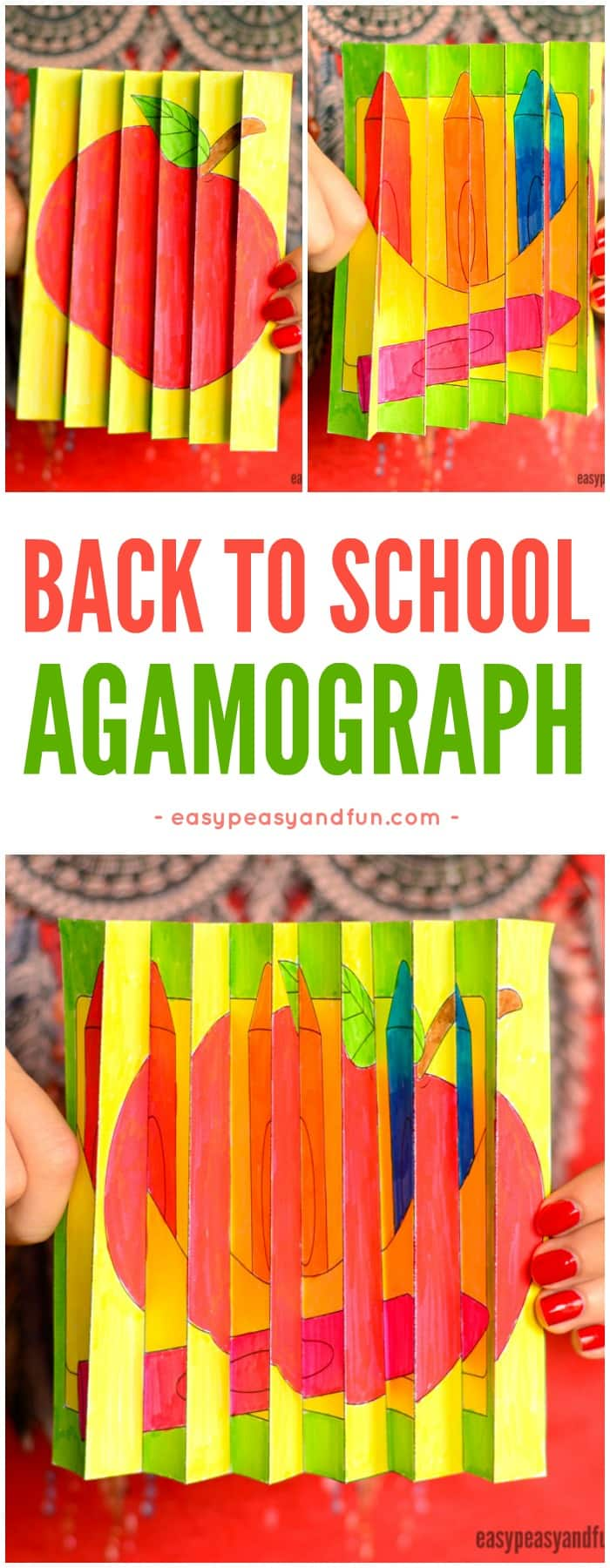Printable Back to School Agamograph Paper Craft for Kids