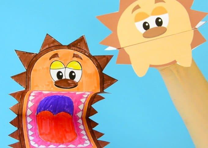 Printable Hedgehog Puppets