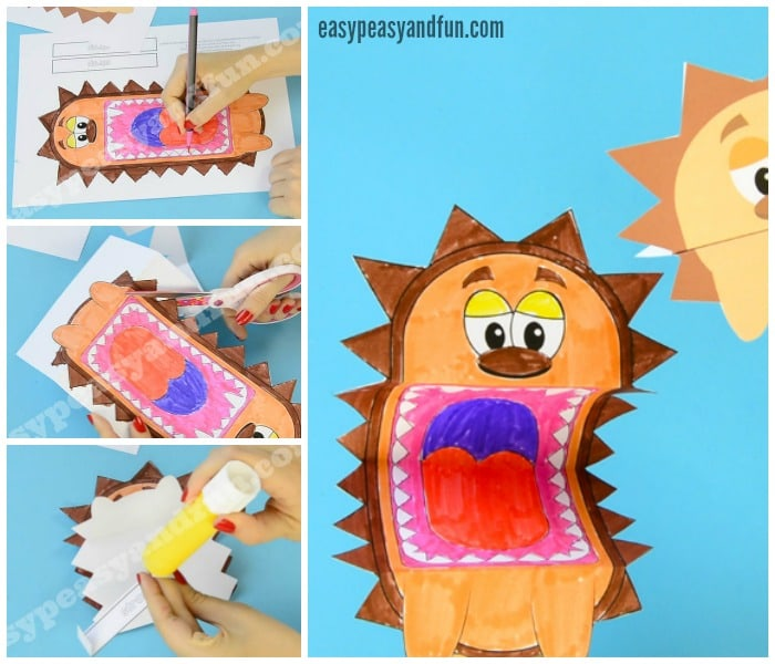 Printable Hedgehog Puppets Craft for Kids