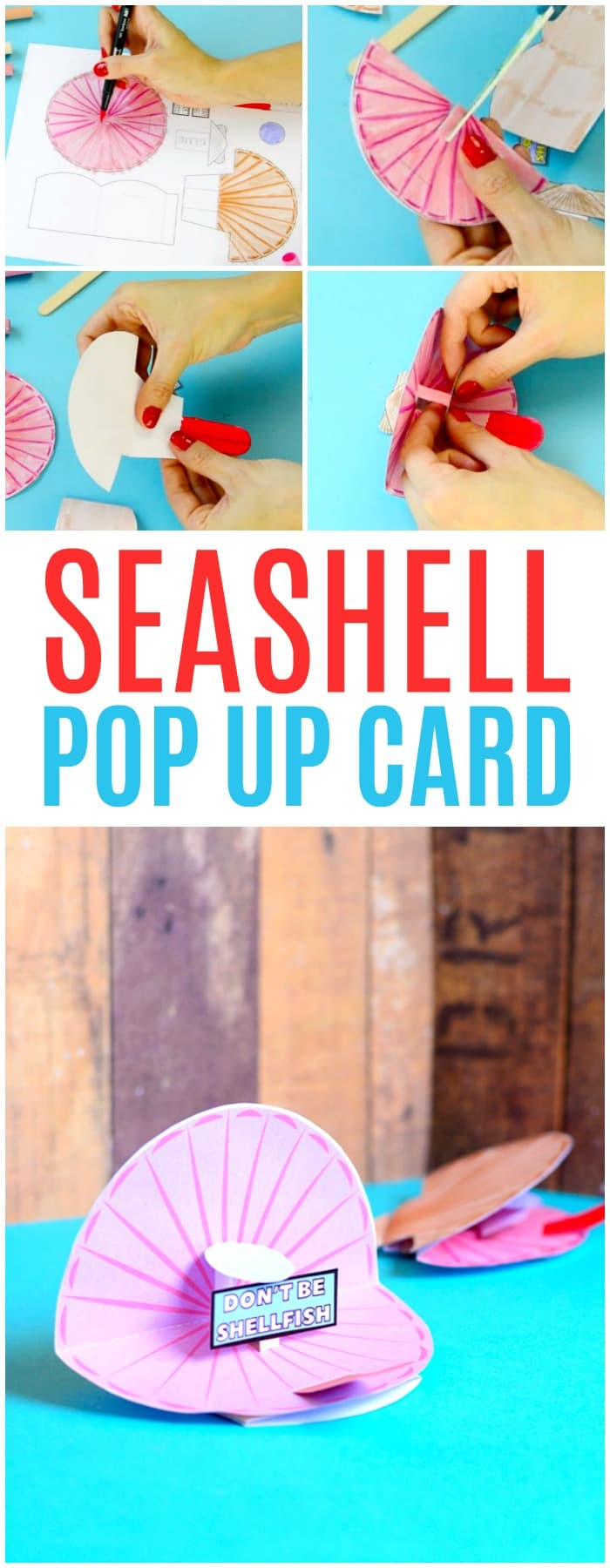 Seashell Pop Up Paper Craft for Kids with Free Printable Template Included
