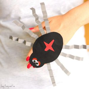 Spider Paper Hand Puppet Template Craft for Kids to Make