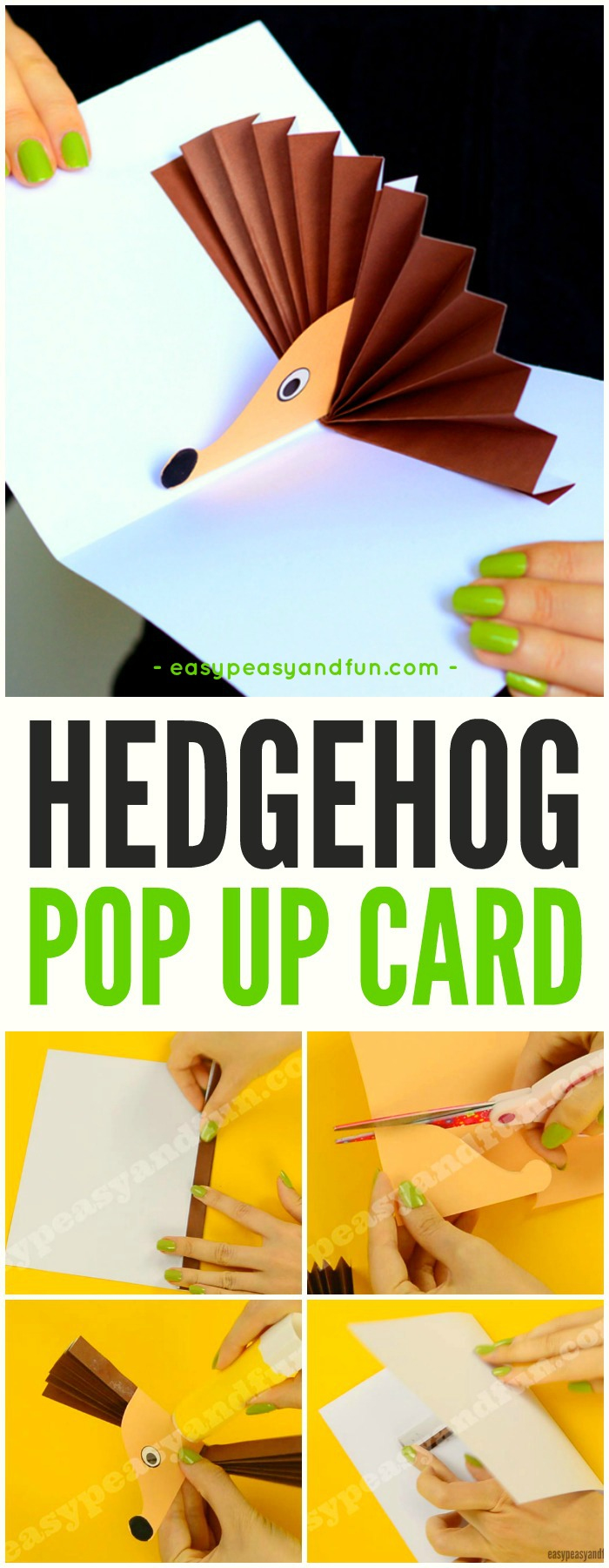 Adorable Hedgehog Pop Up Card Paper Craft for Kids. Also a great fall craft idea for kids to make too.
