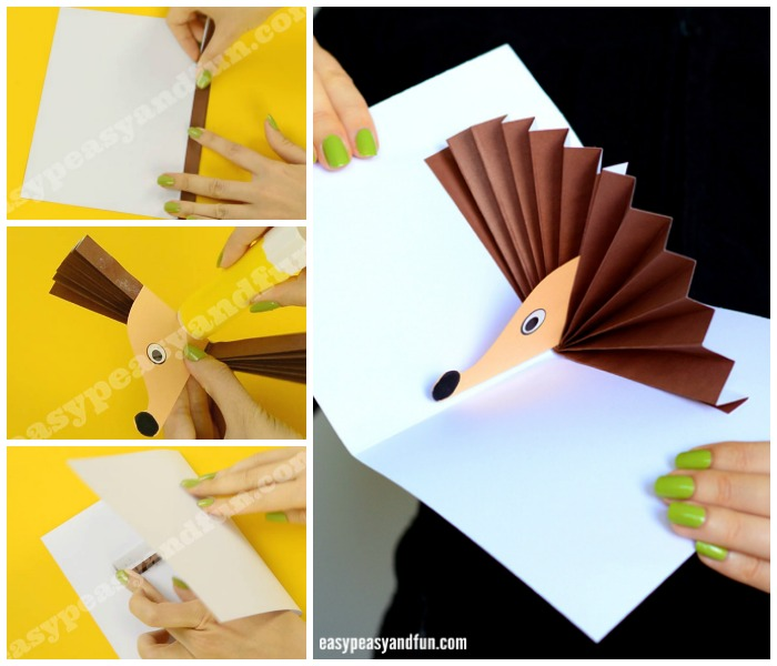 Adorable Hedgehog Pop Up Card Paper Craft for Kids