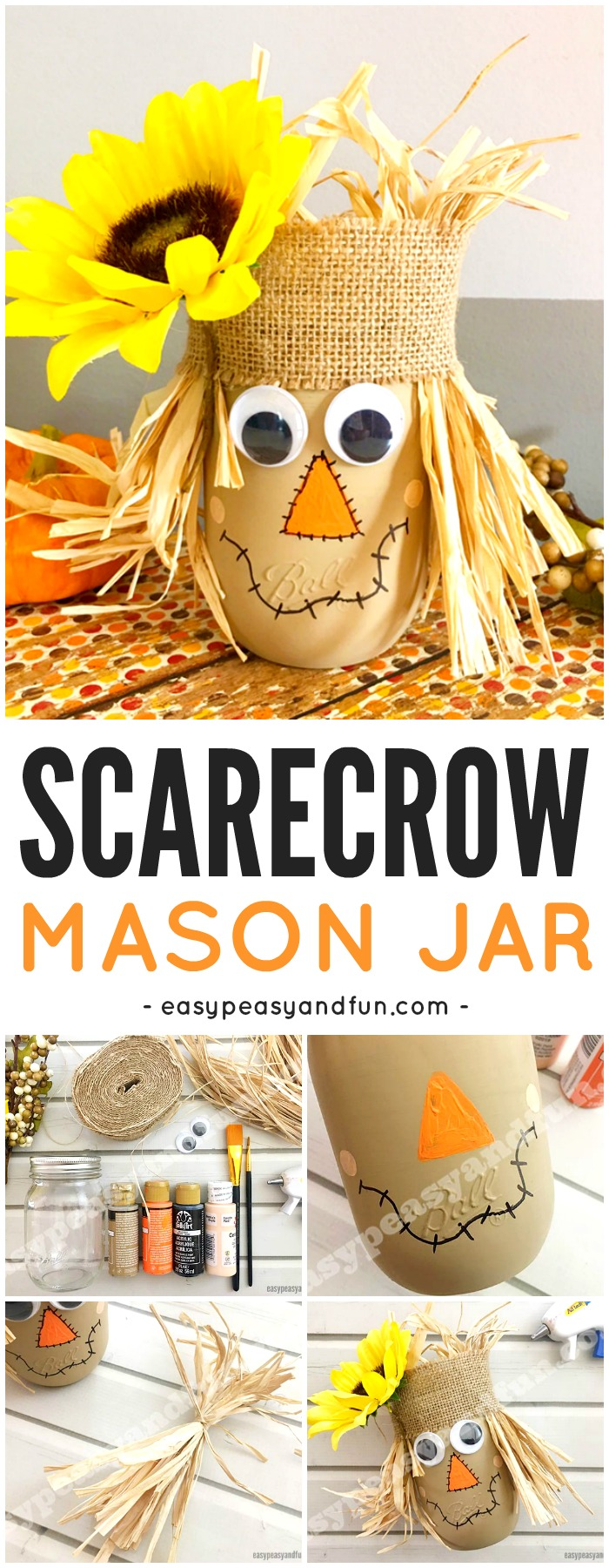 Adorable Scarecrow Mason Jar Halloween Craft for Kids. Fun Fall craft idea for kids too.