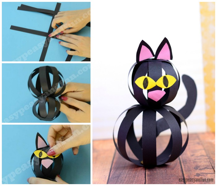 black cat paper craft cat craft with paper strips easy peasy and 3458