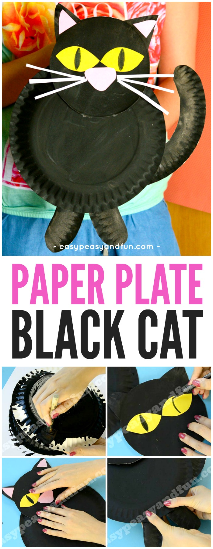 Black Cat Halloween Paper Plate Craft for Kids
