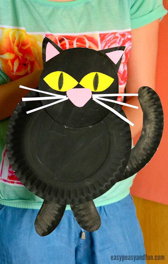 Black Cat Paper Plate Craft for Kids