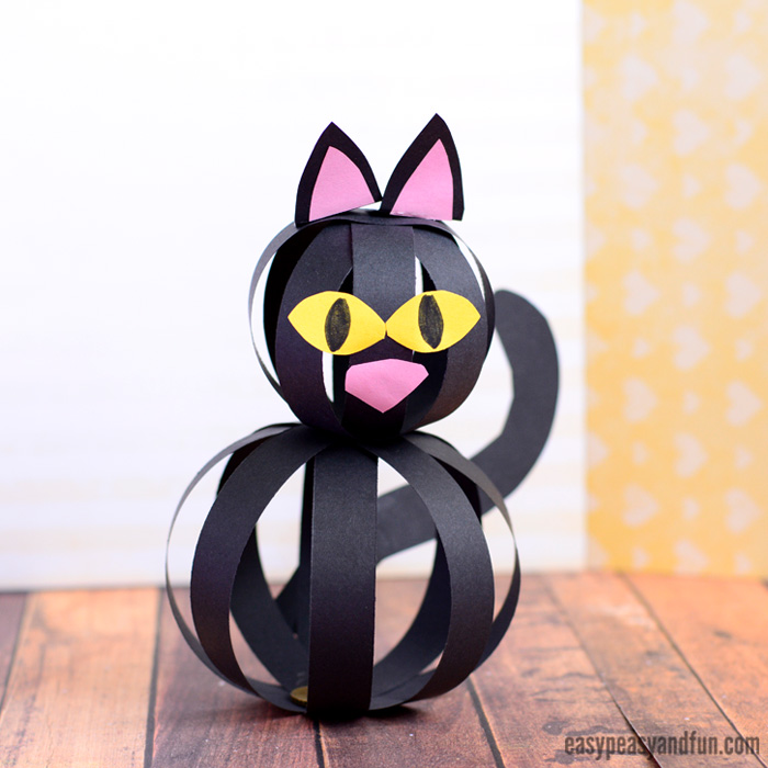 halloween arts and crafts ideas for children cat craft with paper strips easy peasy and 8096