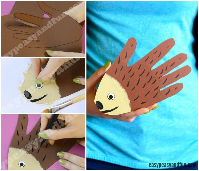 Cute Handprint Hedgehog Craft