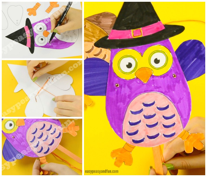 Cute Movable Owl Paper Doll Halloween Craft for Kids