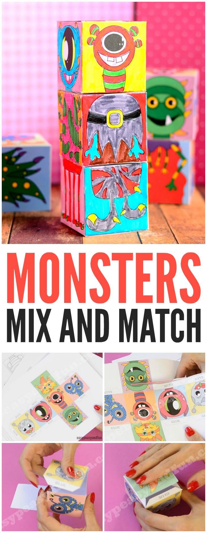 Free Printable Monsters Mix and Match Cubes Fun Halloween Activity for Kids