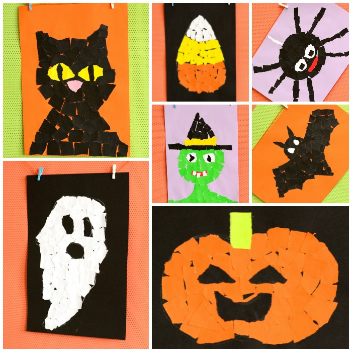 art and craft ideas for halloween torn paper ideas mosaic collage easy 7398
