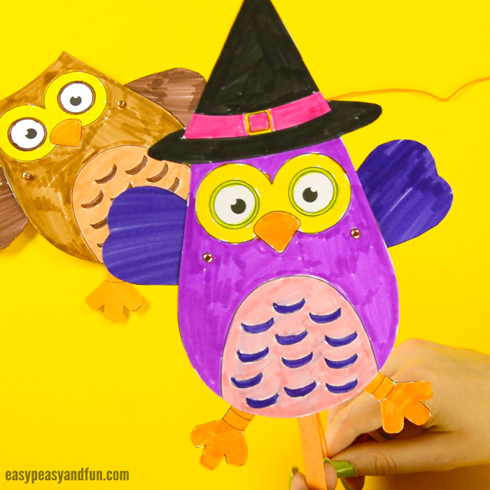 Movable Owl Paper Doll Craft