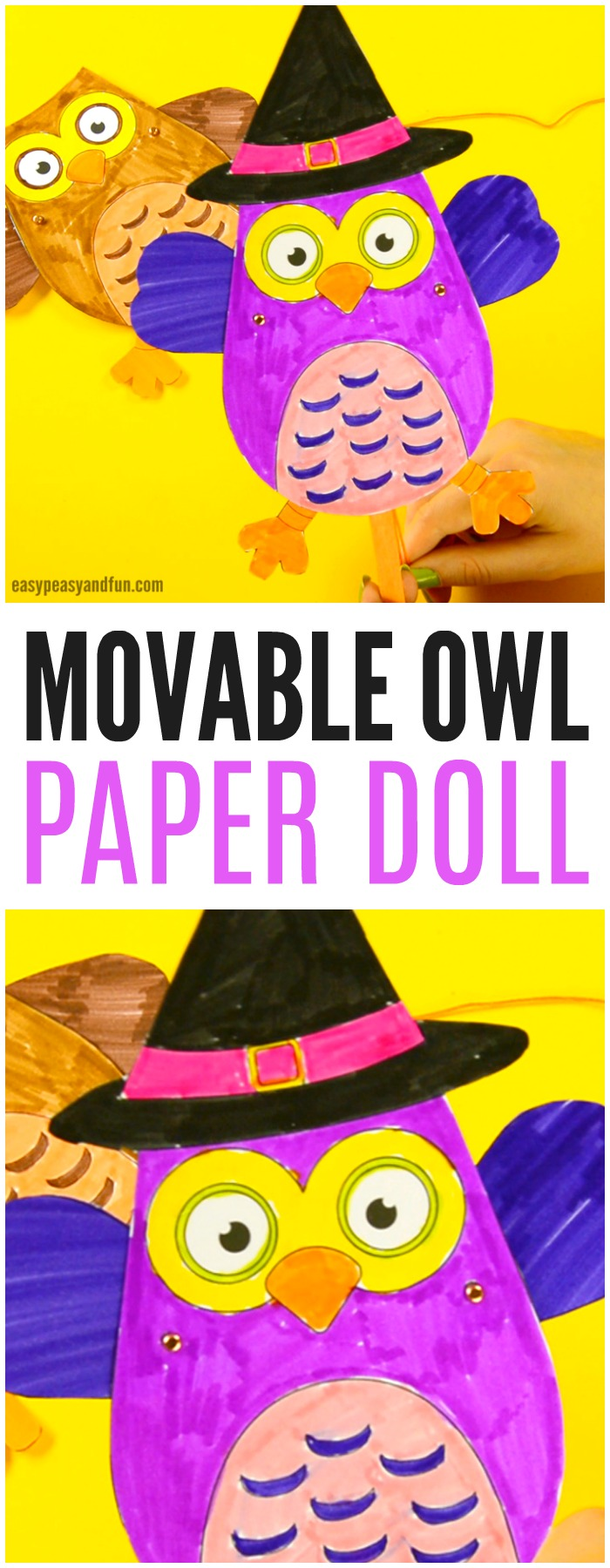 Movable Owl Paper Doll Template Craft for Kids. Fun Halloween and Fall craft for kids.