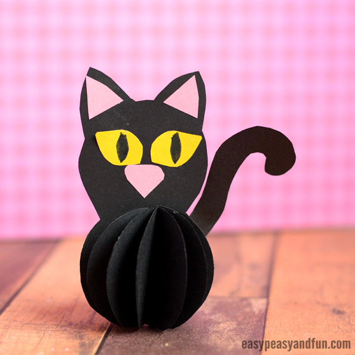 Paper Ball Black Cat Craft for Kids to Make