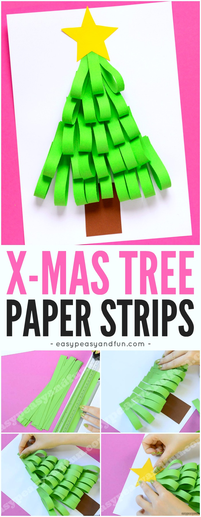 Classroom Craft Ideas ~ Paper strips christmas tree easy peasy and fun