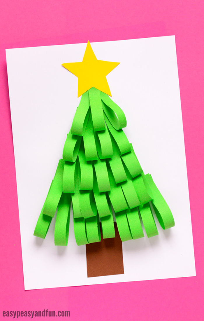 Christmas Tree Craft.Paper Strips Christmas Tree Easy Peasy And Fun