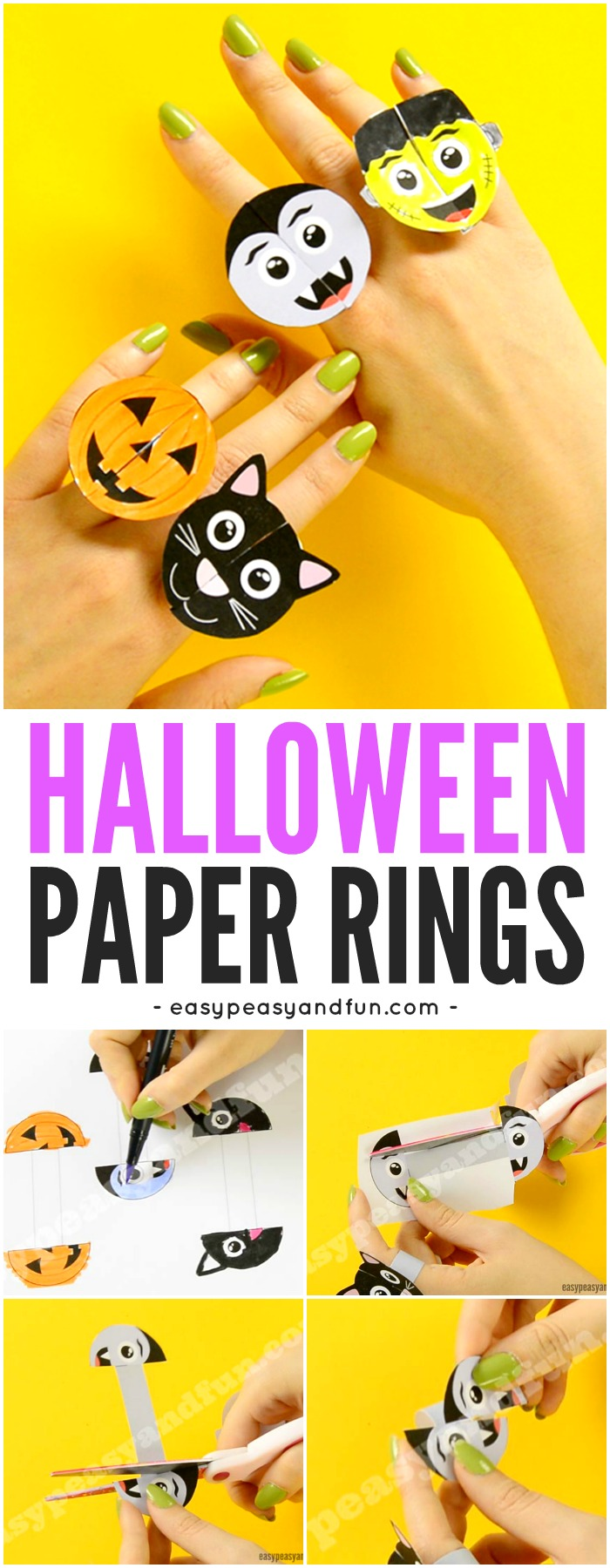 Printable Halloween Monsters Paper Rings Paper Craft for Kids with Template