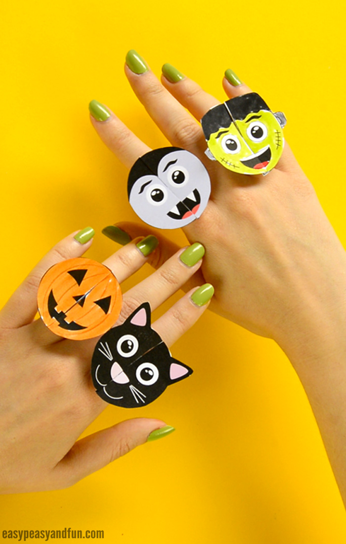 Printable Halloween Monsters Paper Rings