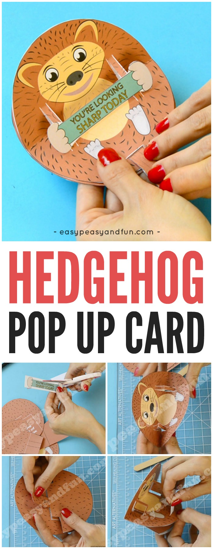 Printable Hedgehog Pop Up Paper Craft for Kids
