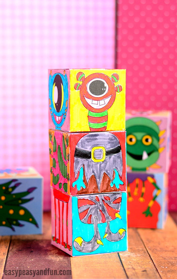 Printable Monsters Mix and Match Cubes Fun Craft for Kids