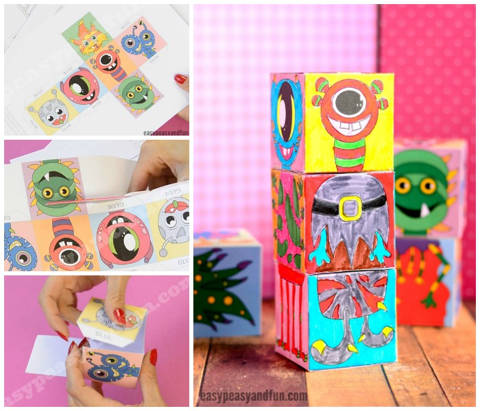 Printable Monsters Mix and Match Cubes for Kids