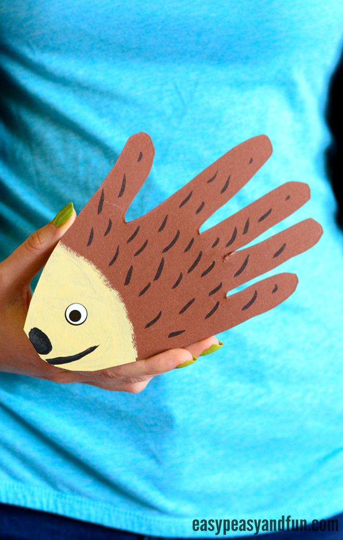 Simple Handprint Hedgehog Craft for Kids