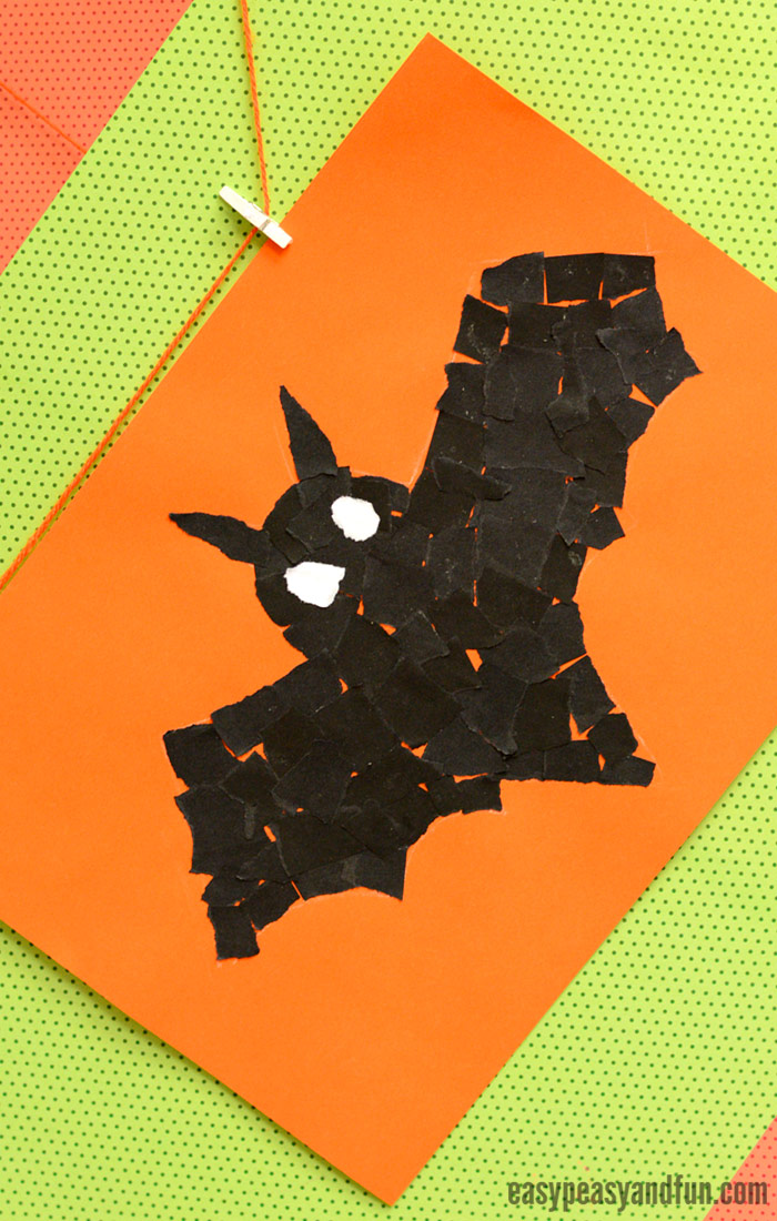 Bat Torn Paper Art