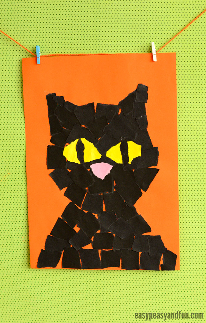 Black Cat Torn Paper Art