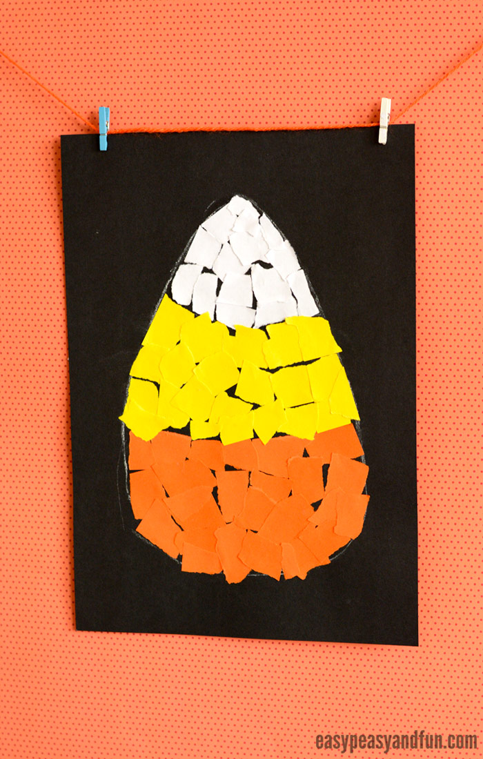 Candy Corn Torn Paper Art