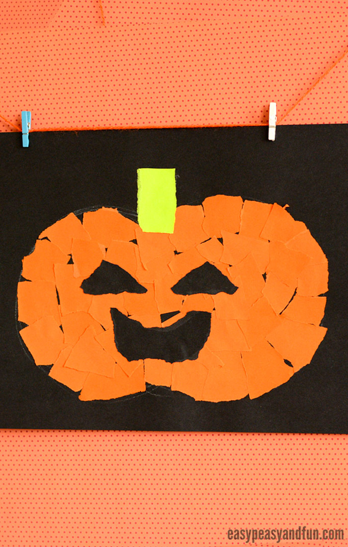 Pumpkin Torn Paper Art