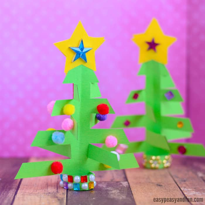 3D Paper Christmas Tree Craft Idea for Kids