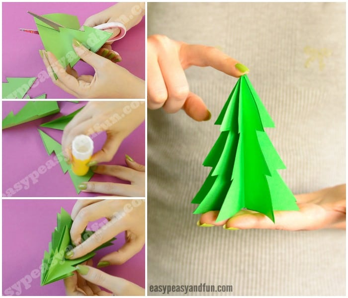 3D Paper Christmas Tree Craft Printable Template
