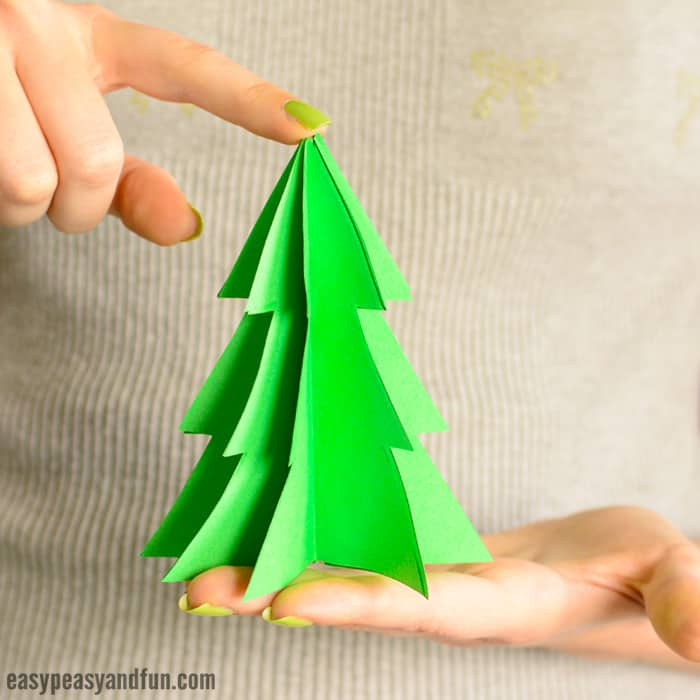 graphic relating to Printable Christmas Ornament Templates identified as 3D Paper Xmas Tree Template - Uncomplicated Peasy and Pleasurable