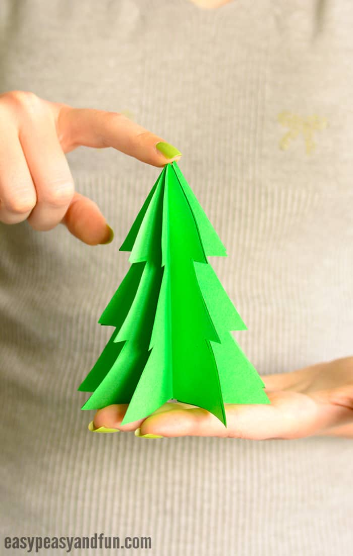3D Paper Christmas Tree Template For Kids