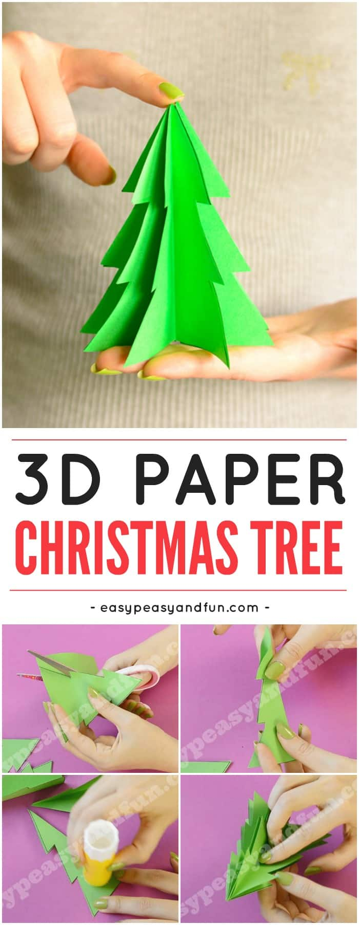 3D paper Christmas tree template. Fun Christmas craft for kids to do. It would work as a Christmas ornament too.