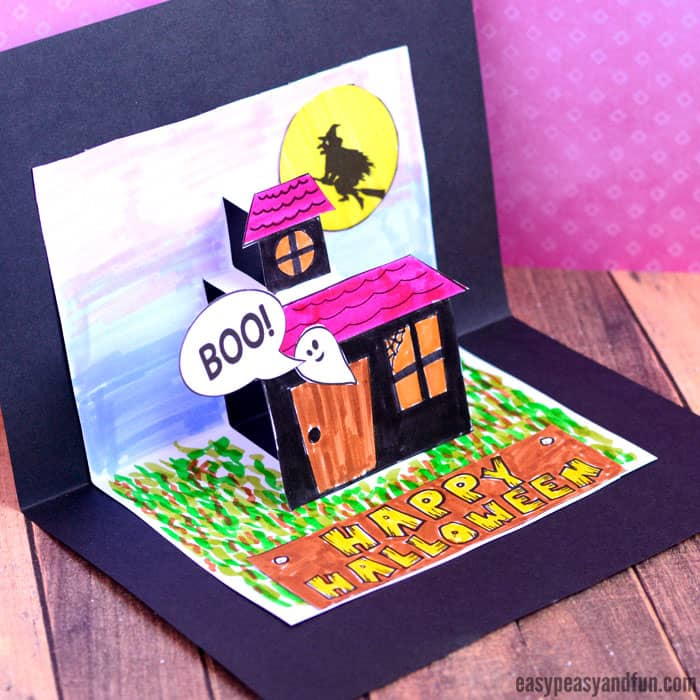 Cute Halloween Pop Up Card Template for Kids