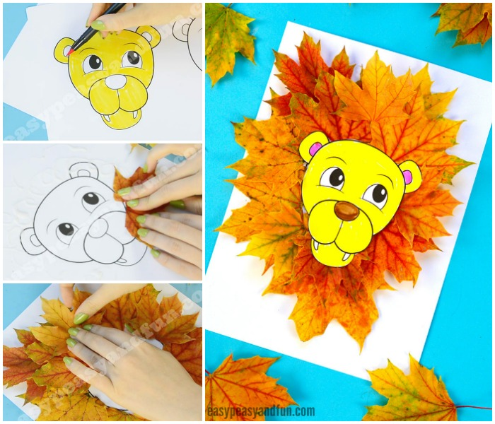 Cute Lion Leaf Craft