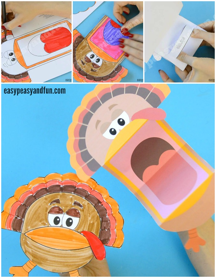Cute Printable Turkey Puppets