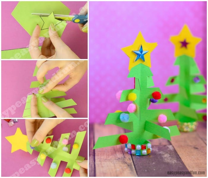 Cute Simplest 3D Paper Christmas Tree Craft for Kids