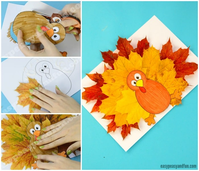 Cute Turkey Leaf Craft Template