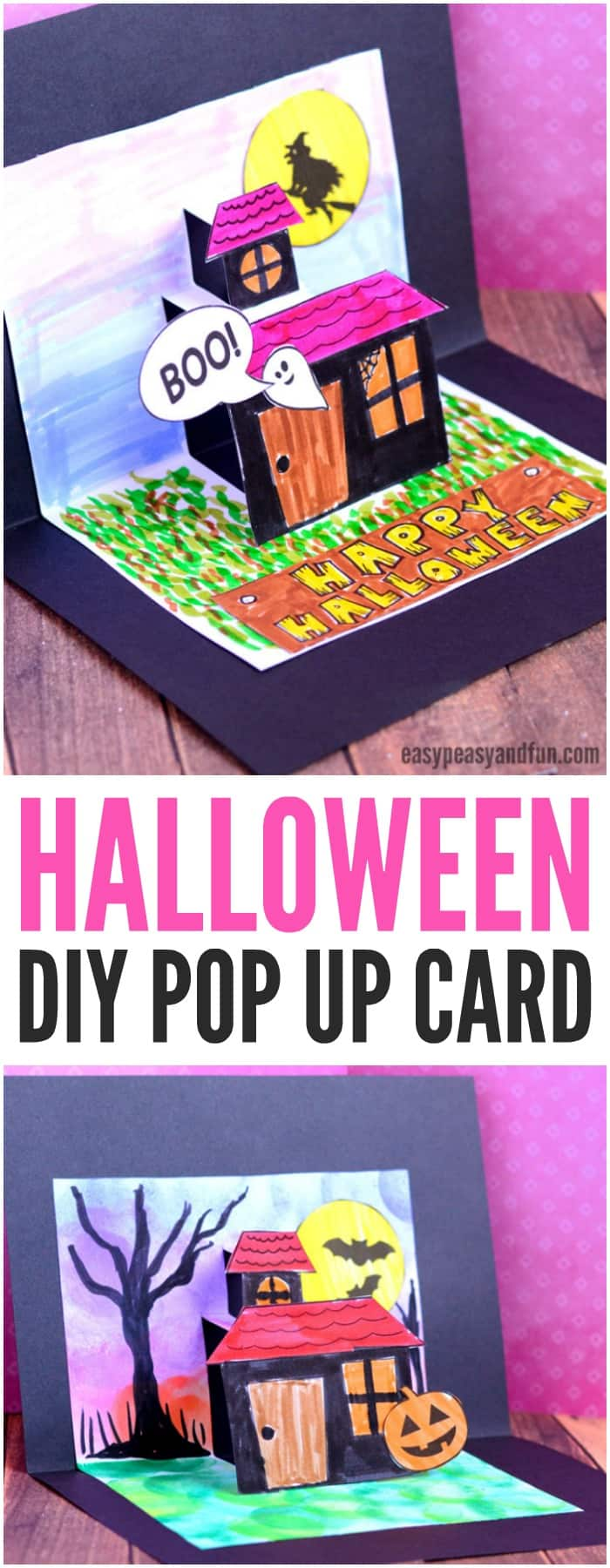 DIY Halloween pop up card template. Fun Halloween craft for kids to make at home or in classrooms.