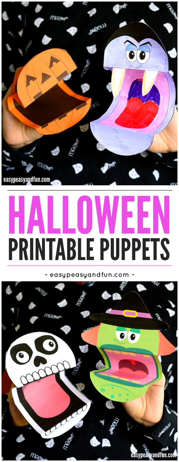 Printable Halloween Puppets. A fun printable Halloween activity for kids to make at home or in the classroom.