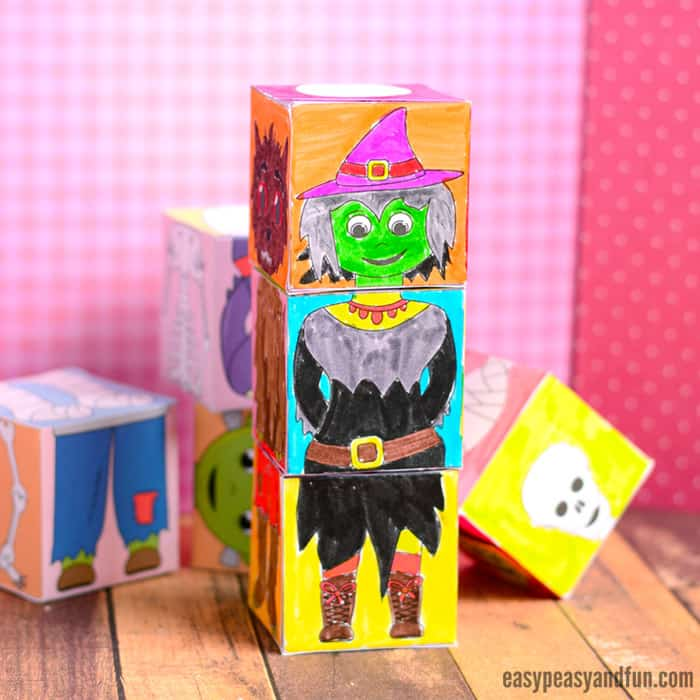 Fun Printable Halloween Mix and Match Cubes